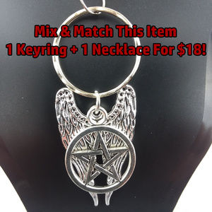 Supernatural Themed Angel Wings Pentacle Keychain